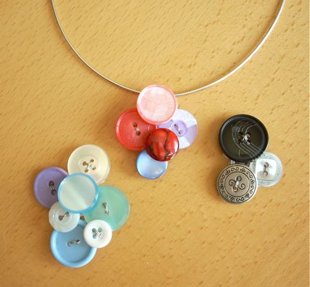 button vintage pendant diy necklace