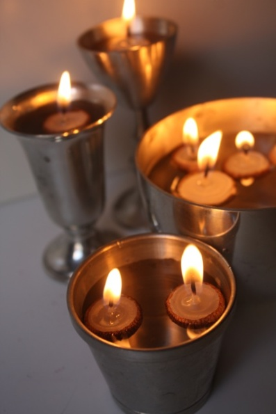 Acorn Cap Candles for Thanksgiving