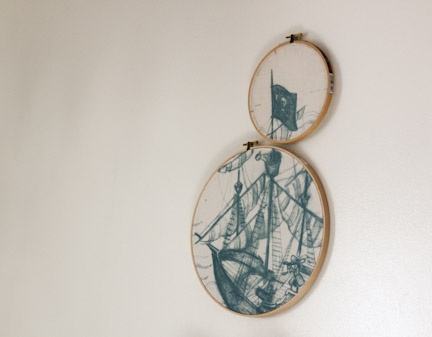 Upcycle T-shirt Hoop Art - Think Crafts
