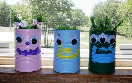 Teach your child gardening with these cute recycled pots! Tutorial at ThinkCrafts.com