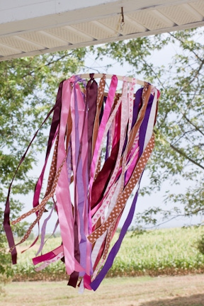 DIY windsock made from ribbon