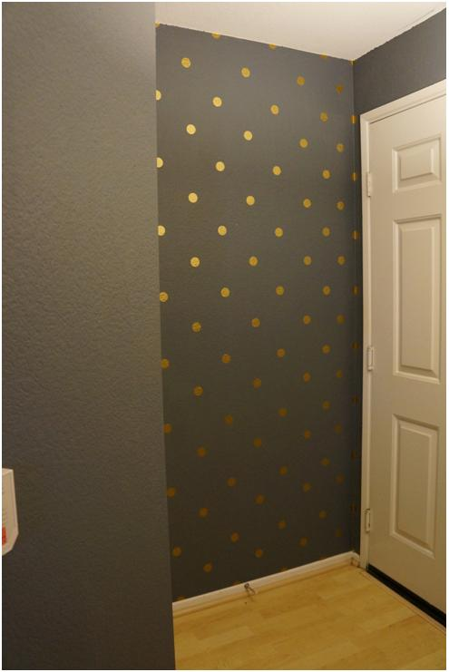Diy golden polka dot walls think crafts by createforless for How to make polka dots on wall
