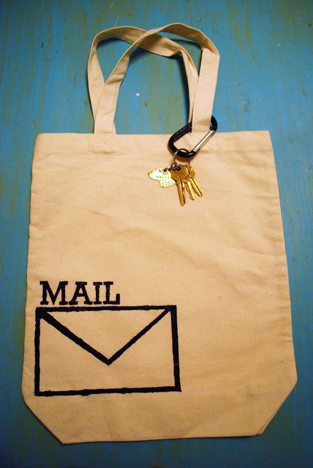 Stenciled Mail Bag at ThinkCrafts.com
