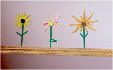 Craft Stick Flowers at ThinkCrafts.com