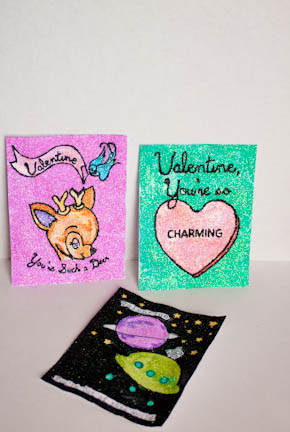 Glitter Painted Card at ThinkCrafts.com