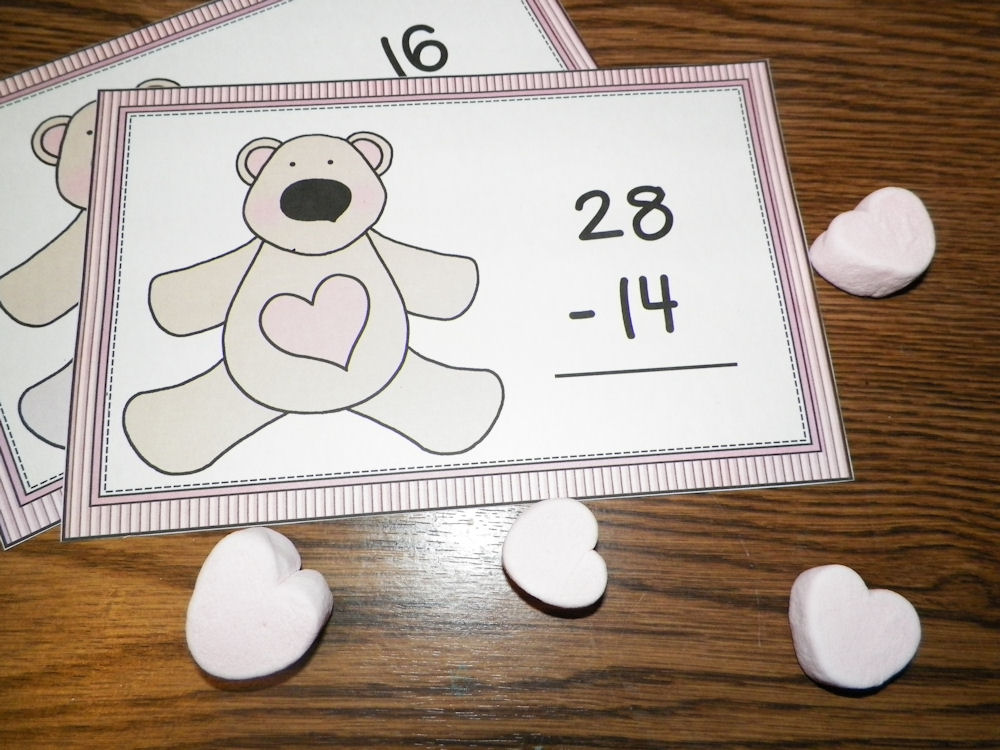 Valentine Math Mats at ThinkCrafts.com