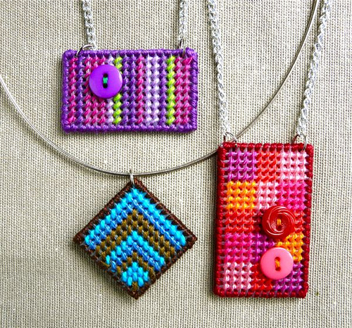 How to Make a Needlepoint Pendant by Guest Blogger Diane from CraftyPod