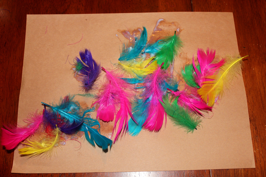 Preschool Feather Craft - Homeschooling Helicopter Mama
