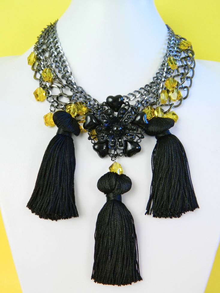 Mark Montano's Crystal Tassel Trio Necklace at ThinkCrafts.com