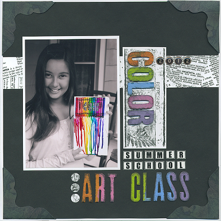 Make a statement by adding minimal color to a scrapbook page