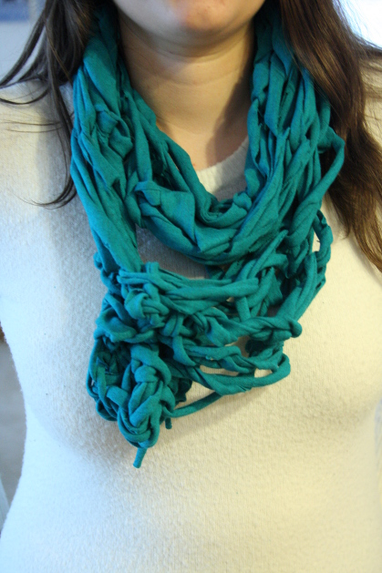 Learn how to cut your own t-shirt yarn and arm knit an infinity scarf!