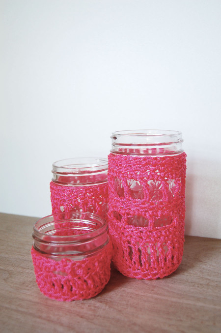 Neon Crochet Jar Covers. Tutorial at ThinkCrafts.com