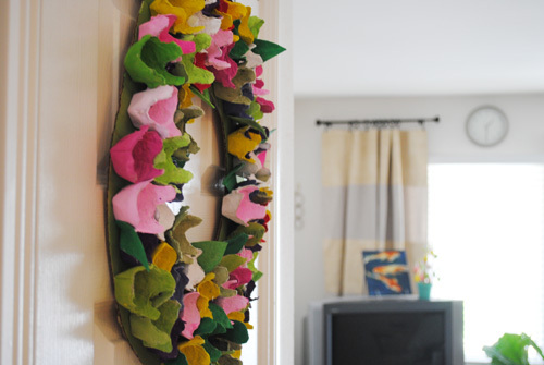 Wreath Made From Egg Cartons with A Brave New Home - ThinkCrafts.com
