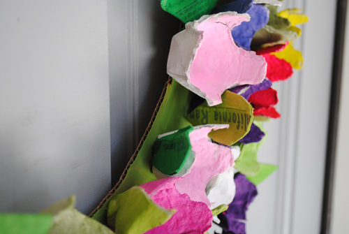 Close up Egg Carton Wreath