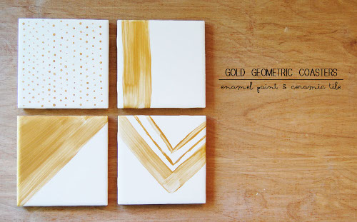 Gold Geometric Coasters - Think Crafts