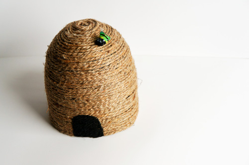 Make a bee skep decoration from recycled materials - ThinkCrafts.com