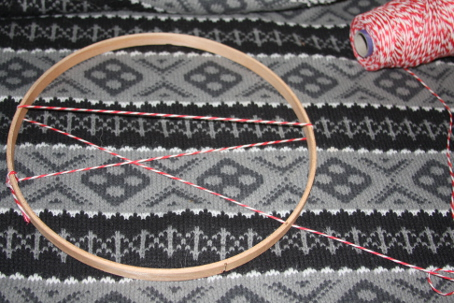 Open the embroidery hoop and wrap twine around.
