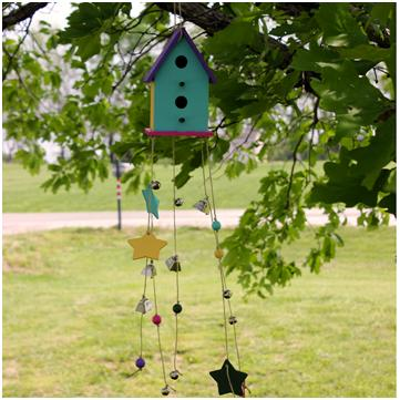 DIY Bird House Windchime. Tutorial at ThinkCrafts.com