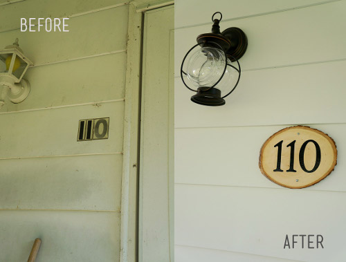 Create a beautiful address plaque for your doorway. Tutorial at ThinkCrafts.com