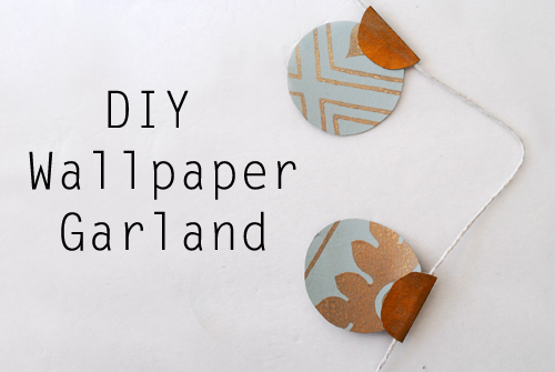 Fun DIY Garland from Wallpaper Samples. Tutorial at ThinkCrafts.com