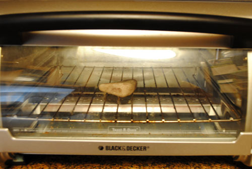 2 - heating rock in  toaster oven