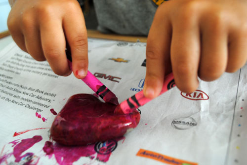 5 - coloring rocks with two hands