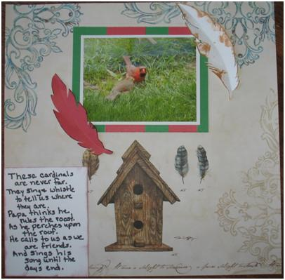 Fine Feathered Friends Layout and how to make paper feathers at ThinkCrafts.com