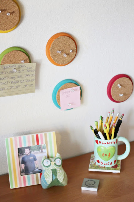 Colorful Mini Corkboard DIY with the Trashy Crafter - ThinkCrafts.com