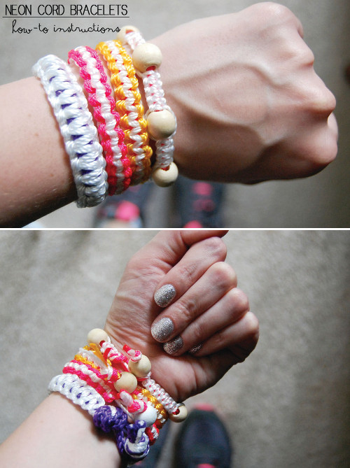DIY bracelets with neon cord. Tutorial at ThinkCrafts.com