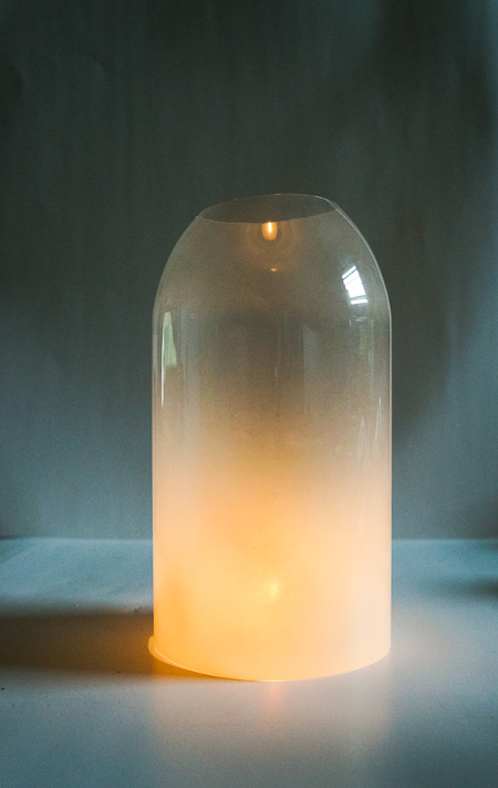 DIY Frosted Glass Luminaries from recycled materials. ThinkCrafts.com