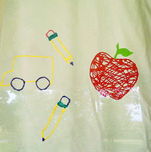 Back to School Puffy Paint Window Clings. Tutorial at ThinkCrafts.com