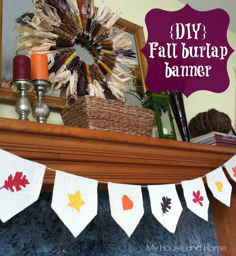 DIY Fall Burlap banner - Tutorial at ThinkCrafts.com