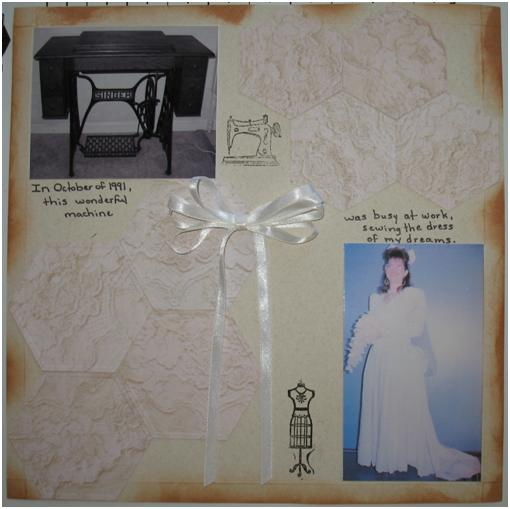 Embossed Sewing Machine Memories Layout - ThinkCrafts.com
