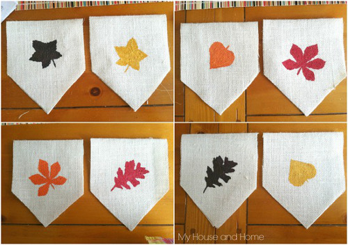Fall Leaves Burlap Banner - ThinkCrafts.com