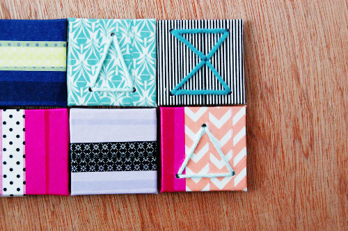 Washi Tape and Yarn Magnets - Tutorial at ThinkCrafts.com