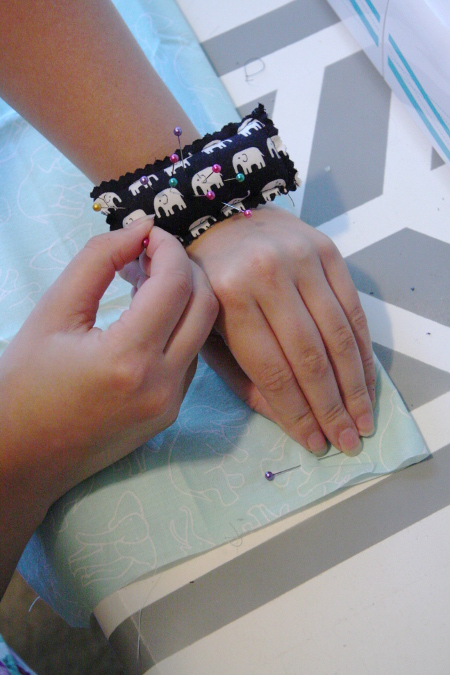 DIY Wrist Pincushion - Tutorial at ThinkCrafts.com
