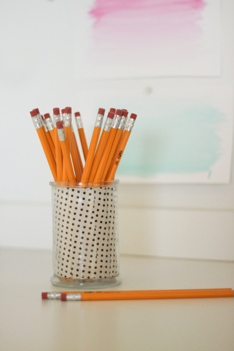 DIY Scrap Fabric Pencil Holder - Tutorial at ThinkCrafts.com