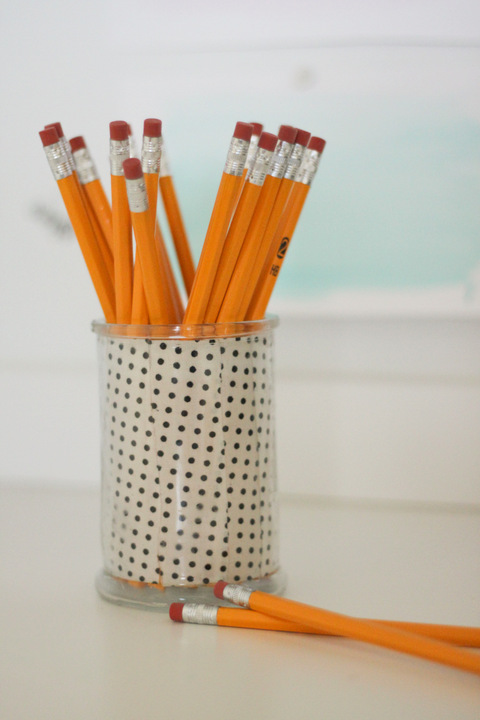 DIY Fabric Pencil Holder - Tutorial at ThinkCrafts.com