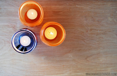 DIY Halloween Votives. Tutorial at ThinkCrafts.com