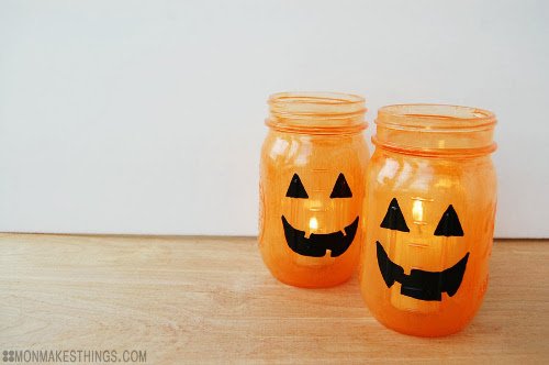 DIY Jack-O-Lantern Jars with Transform Mason Paint