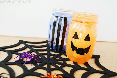 Painted Halloween Jars - Tutorial at ThinkCrafts.com