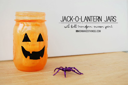 Jack-O-Lantern Jars with Transform Mason Paint. Tutorial at ThinkCrafts.com