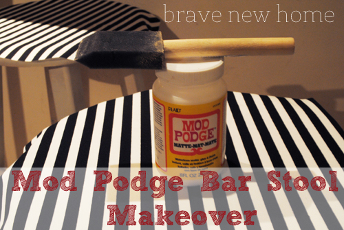 DIY Bar Stool Makeover with Mod Podge
