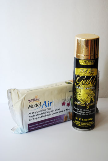 2 - gold spray paint and air drying clay
