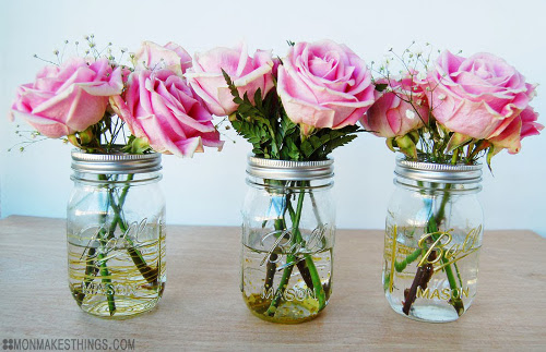 DIY Guilded Mason Jar Vases