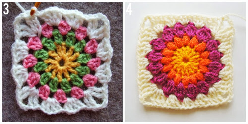 Flowers in the Snow Granny Square by Solgrim  and Sunburst Granny Square by Nittybits