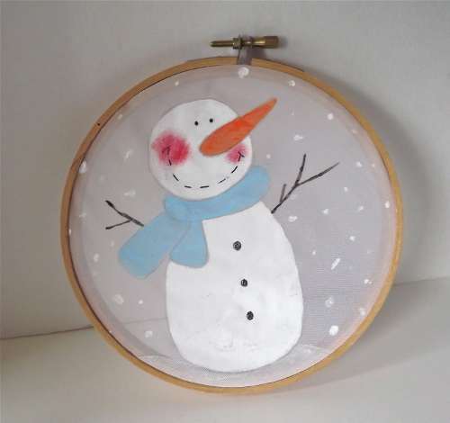 Painted Snowman Hoop Art