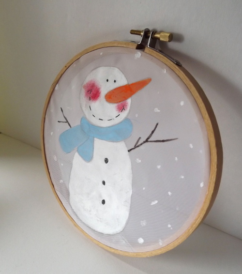 Winter Snowman Hoop Art