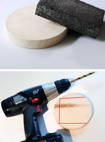 sanding and drilling wooden disc