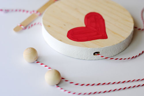close up of diy wooden heart toy